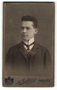 Fotografie R. Fischer, Graslitz, Portrait junger Herr in Anzug
