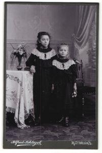 Fotografie Alfred Schlegel, Mittweida i/S, Portrait zwei kleine Schwestern in identischen Kleidern