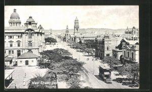 AK Durban, West Street mit Strassenbahn