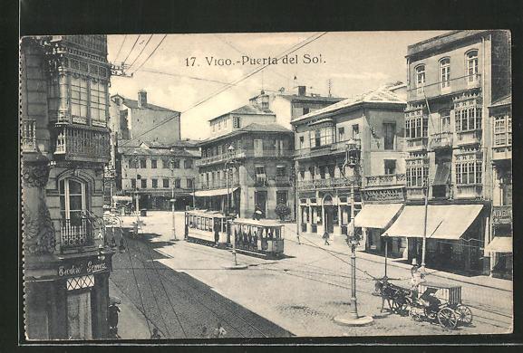 AK Vigo, Puerta del Sol, Strassenbahn