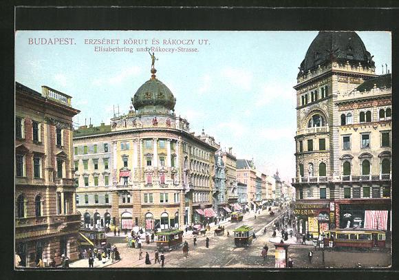 AK Budapest, Elisabethring und Rákoczy-Strasse mit Strassenbahn