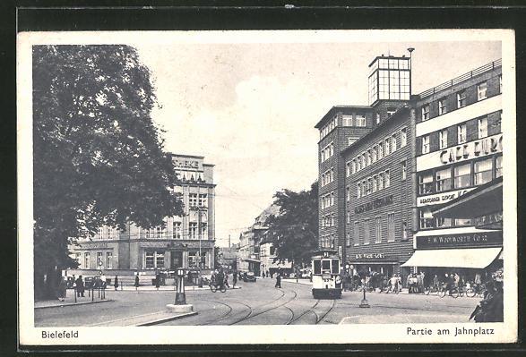 AK Bielefeld, Strasse am Jahnplatz, Strassenbahn