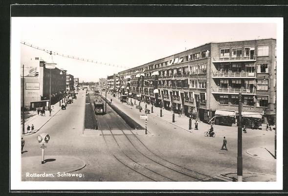 AK Rotterdam, Schieweg-Strasse mit Strassenbahn