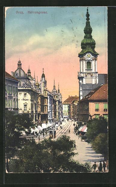 AK Graz, Herrengasse-Strasse mit Strassenbahn