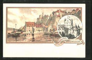 Künstler-AK Karl Mutter: Meersburg, Teilansicht vom Ort, Ansicht vom Schloss
