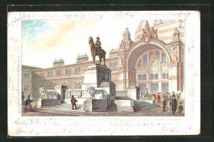Lithographie Nürnberg, Denkmal des Prinzregenten Luitpold von Bayern am neuen Centralbahnhof