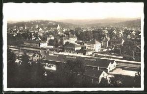 AK Schwäb. Gmünd, Ortspanorama mit Bahnhof