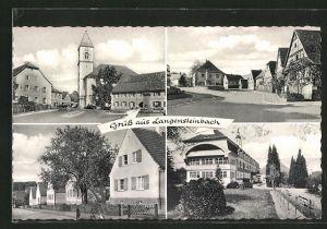 AK Langensteinbach, Strassenpartie im Ort, Blick zur Kirche