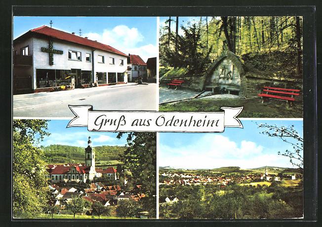 AK Odenheim, Ortsansicht, Blick auf die Kirche, Waldpartie 0