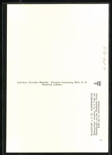 Foto-AK Deutscher Kunstverlag, Nr.14: Frankfurt / Oder, Marienkirche, Siebenarmiger Leuchter 1