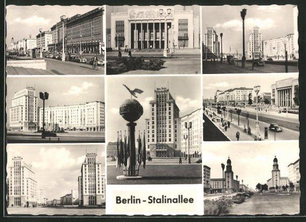 AK Berlin, verschiedene Ansichten der Stalinallee