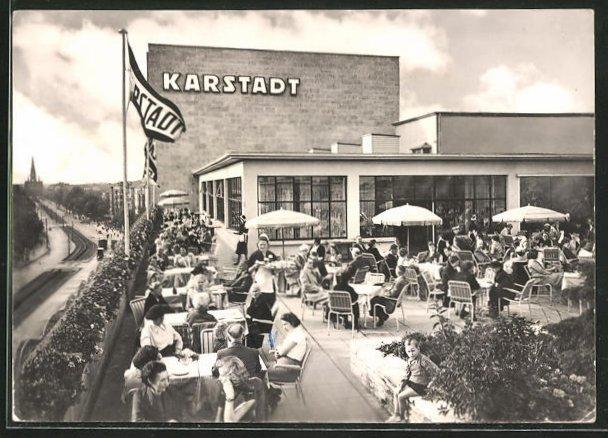 AK Berlin, Blick auf Karstadt Kaufhaus Hermannplatz, Dachgarten