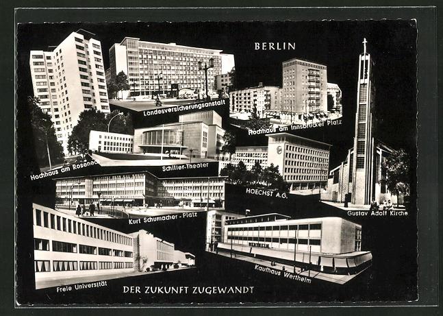 AK Berlin, Landesversicherungsanstalt, Hochhaus am Innsbrucker Platz, Schiller-Theater