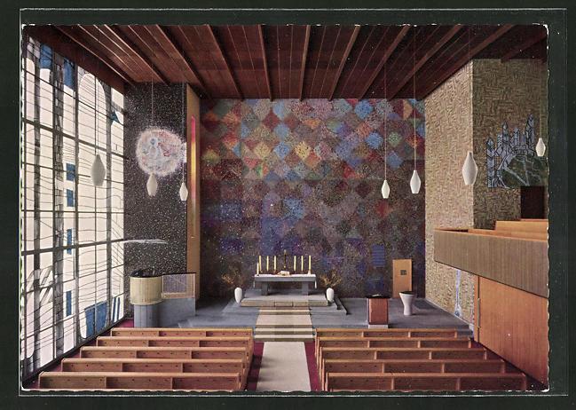 AK Berlin-Hansaviertel, Kaiser-Friedrich-Gedächtnis-Kirche, Innenansicht