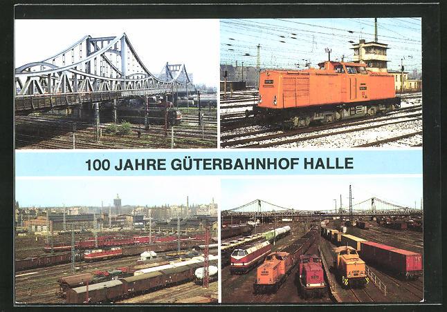 AK Halle, Güterbahnof mit Berliner Brücke, Diesellok der Baureihe 108