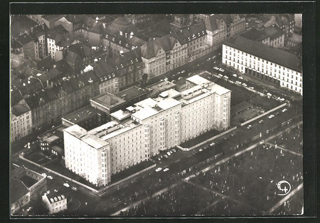 AK München, Städt. Krankenhaus, Fliegeraufnahme