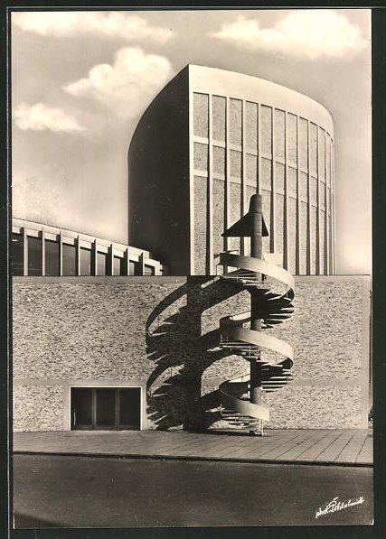 AK Münster / Westf., Blick zum neuen Theater