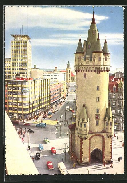 AK Frankfurt am Main, Blick vom Bayer-Haus auf den Eschenheimer Turm und das Fernmelde-Hochhaus