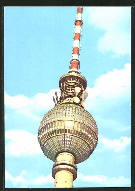 AK Berlin, Blick auf die Kugel des Fernseh- und UKW-Turmes der Deutschen Post