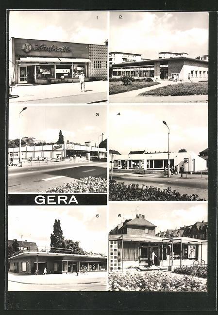 AK Gera, Konsum-Kaufhalle in Langenberg, HO-Wismut-Kaufhalle Nord in Bieblach, HO-Kaufhalle Centra Ernst-Thalmann-Strasse