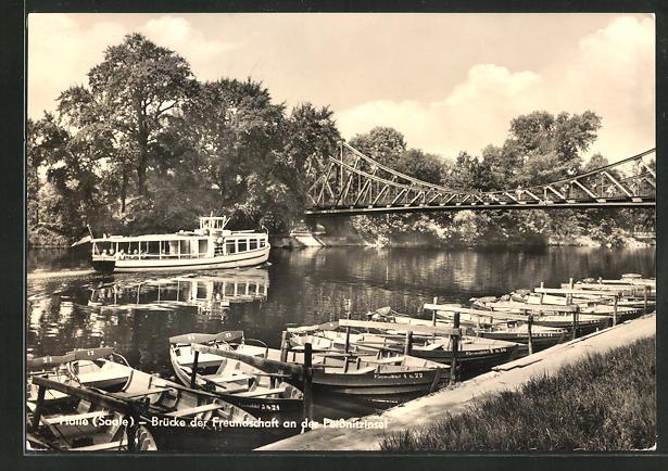 AK Halle / Saale, Blick auf die Brücke der Freundschaft and der Peissnitzinsel
