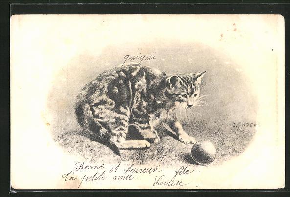 AK Getigerte Katze spielt mit einem Ball