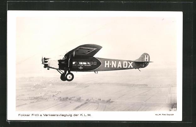 AK Fokker-Verkehrsflugzeug F-VIIa der K.L.M.