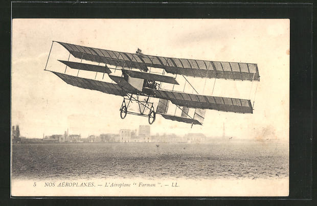 AK Doppeldecker-Flugzeug des Typs Farman