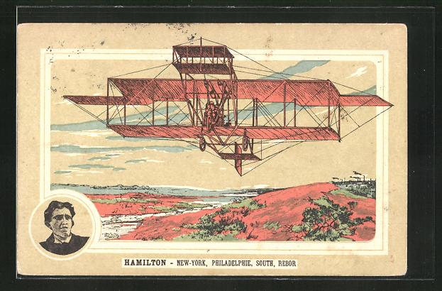 AK Flugzeug-Pionier Hamilton in seinem Doppeldecker