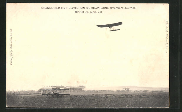 AK Flugzeug-Pioniere, Blériot en plein vol, Grande Semaine d'Aviation de Champagne