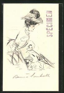 Künstler-AK Paul Helleu: Frau mit Hut und Schirm