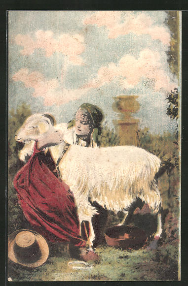 AK Junge Frau melkt eine Ziege