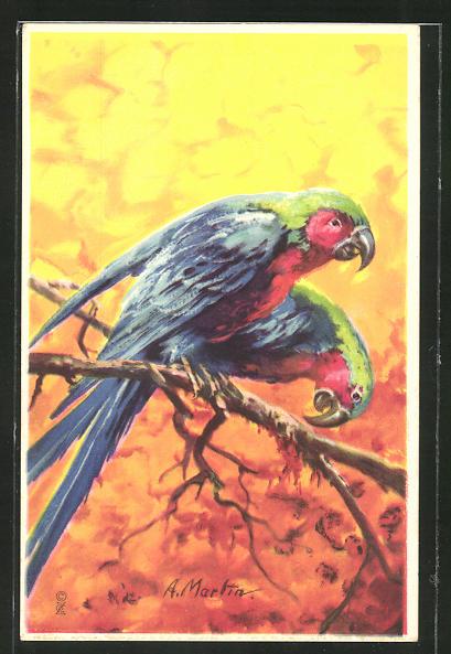 AK Papageienpaar auf einem Ast sitzend