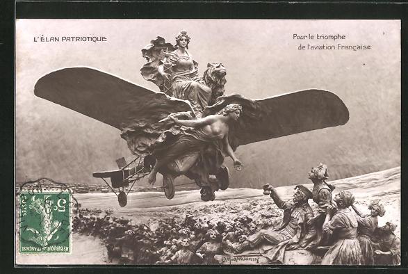 Künstler-AK Domenico Mastroianni: L'Elan Patriotique, Pour le triomphe de l'aviation Francaise