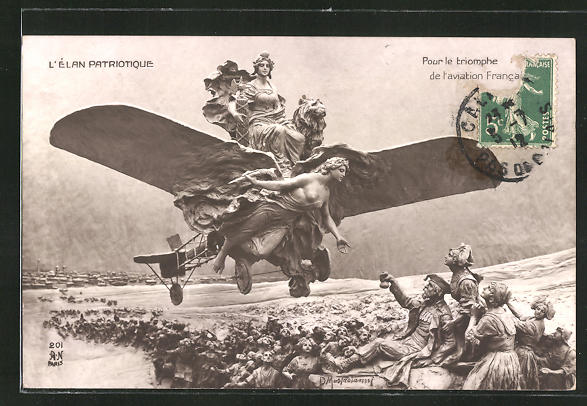 Künstler-AK Domenico Mastroianni: L'Elan Patriotique, Pour le triomphe de l'aviation Francais