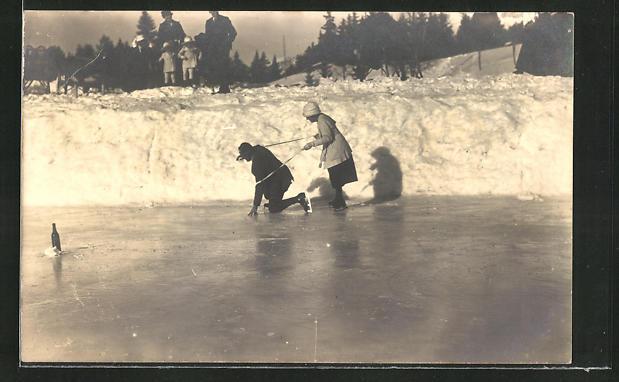 Foto-AK Paar übt Schlittschuhlaufen auf dem zugefrorenen See