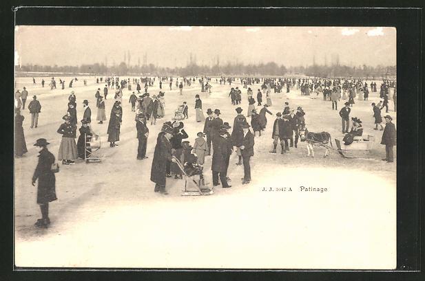 AK Menschen beim Schlittschuhlaufen auf dem zugefrorenen See