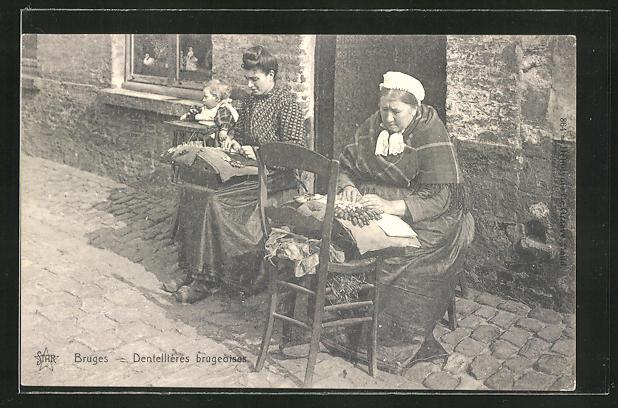 AK Bruges, Dentellières brugeoises, Frauen klöppeln vor ihrem Haus