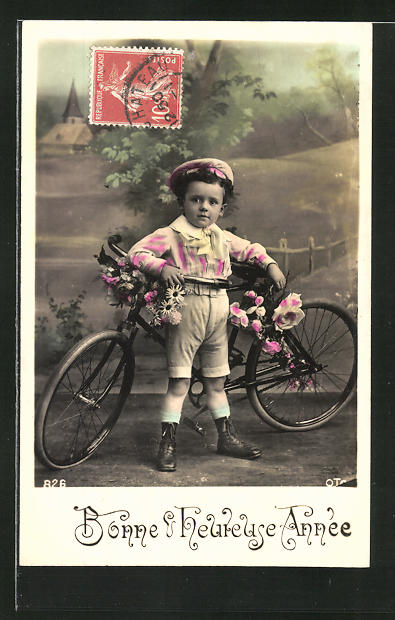 AK Bonne & heureuse Année, kleiner Bub mit Fahrrad
