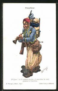 Künstler-AK Tirailleur, Karikatur eines Soldaten