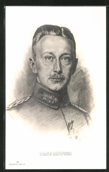 Künstler-AK Kronprinz Wilhelm von Preussen in Uniform mit Eisernem Kreuz