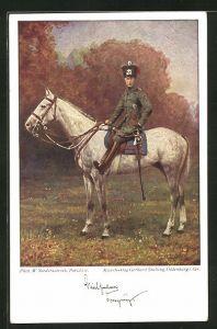 Künstler-AK Kronprinz Wilhelm von Preussen in Husarenuniform zu Pferd