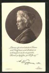 Lithographie Darum rufe ich euch, deutsche Frauen..., Kaiserin Auguste Victoria