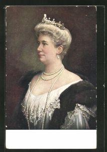 AK Kaiserin Auguste Victoria Königin von Preussen mit Diadem und Perlenkette