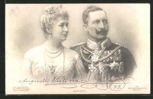 AK Portrait Kaiser Wilhelm II. in Uniform mit Orden und Kaiserin Auguste Victoria Königin von Preussen im Kleid