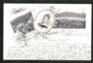 AK Tegernsee, Ortsansicht, Portrait der Kaiserin Auguste Victoria Königin von Preussen