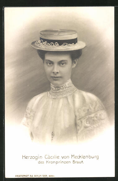 AK Portrait Herzogin Cäcilie von Mecklenburg, des Kronprinzen Braut
