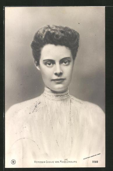 AK Portrait Herzogin Cecilie von Mecklenburg