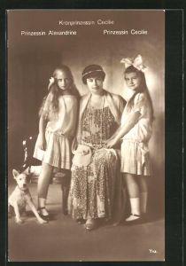 AK Kronprinzessin Cecilie mit Prinzessin Alexandrine und Prinzessin Cecilie