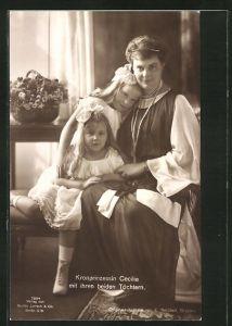 AK Kronprinzessin Cecilie mit ihren beiden Töchtern